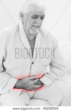 Elderly man with pain in stomach