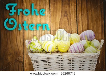 Easter eggs in basket against frohe ostern