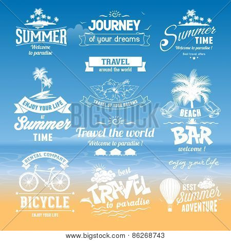 Set of hand drawn design elements for Summer calligraphic compositions. Vintage style. Best for Summer holidays, travel advertising, tropical paradise, weekend tour, beach vacation, adventure labels.