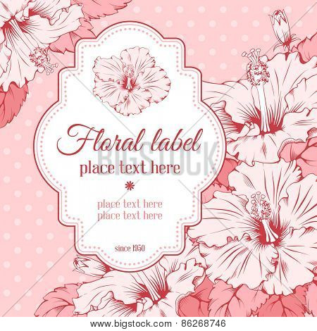 Vector Floral Frame for wedding invitations or announcements with hand drawn exotic flowers hibiscus. Easy to edit. Beautiful element for different designs.