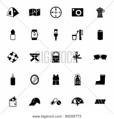 Camping Necessary Icons On White Background