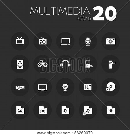 Thin multimedia icons on dark gray