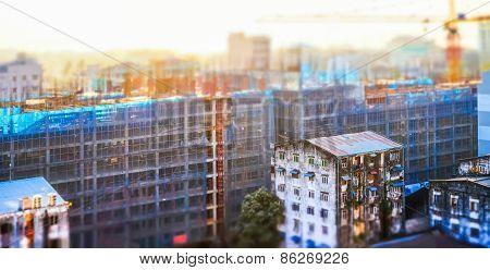 Cityscape Panorama View Of Building Construction At Sunrise. Tilt Shift Effect. Yangon, Myanmar (bur