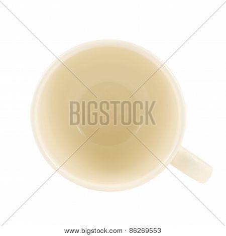 Ceramic cream colored cup isolated