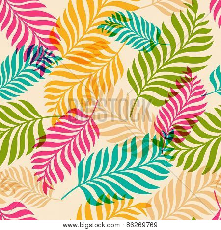 Vector Seamless Pattern Of Colorful Palm Tree Leaves. Nature Organic Background
