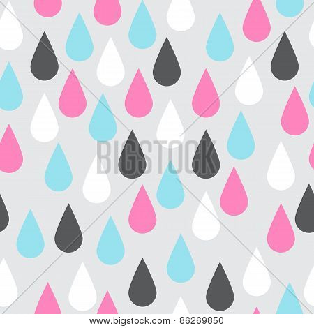 Colorful Drops Seamless Pattern. Pink, Blue, Black and White