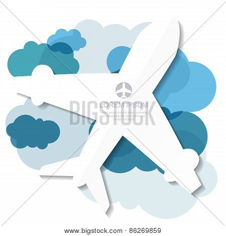 Flight Airplane Silhouette And Blue Clouds Background. Vector Illustration, Modern Template Design W