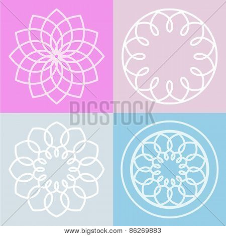 Set Of Lotus Flower Symbol And Background. Vector Line Illustration. Abstract Logo Design Concept