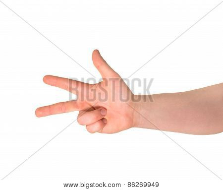 Three finger hand gesture sign isolated