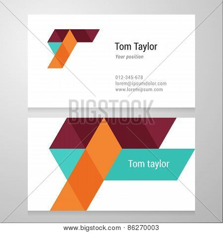 Modern Letter T Business Card Template