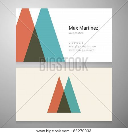 Vintage Letter M Icon Business Card Template