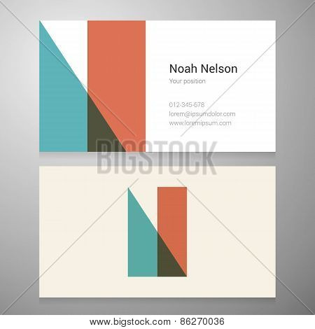 Vintage Letter N Icon Business Card Template