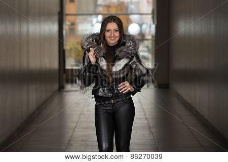Glamour Fashion Model Wearing Black Winter Jacket