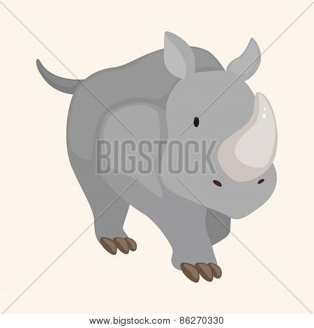 Animal Rhinoceros Cartoon Theme Elements