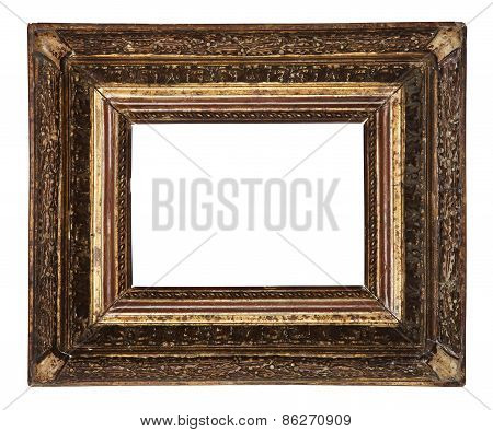 Antique Old Picture Frame Wooden Ceramics Isolated On White