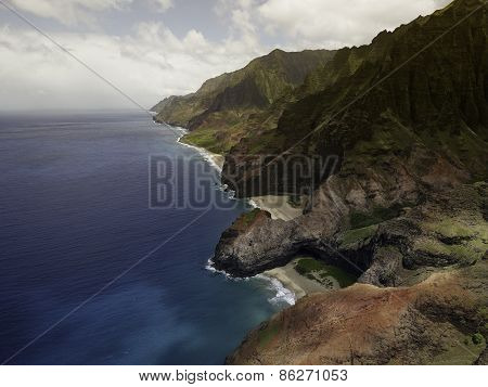 Aerial View on Na Pali Coast on Kauai island on Hawaii