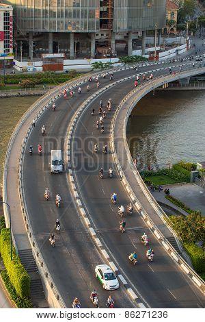 Ho Chi Minh, Vietnam - Circa Feb 2015 . Traffic At Curves Of Khanh Hoi Bridge At Downtown Of Saigon,