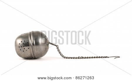 Metallic tea strainer infuser isolated