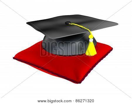 3D Illustration Of Graduation Hat On A Cushion