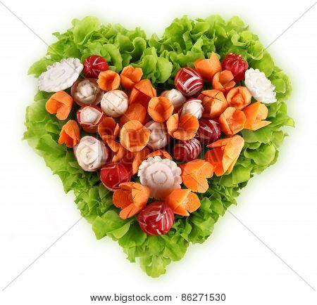 diet concept heart shape lettuce carrots radishes