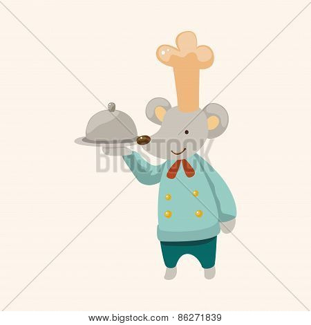 Animal Mouse Chef Cartoon Theme Elements