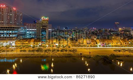 Night View Of Saigon Old Town Or China Town On Saigon Riv