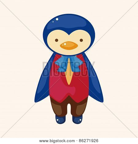 Animal Penguin Waiter Cartoon Theme Elements