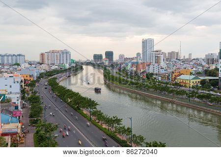 Curve Of Ho Chi Minh Riverside Cityscape Night View With B
