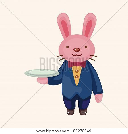 Animal Rabbit Waiter Cartoon Theme Elements