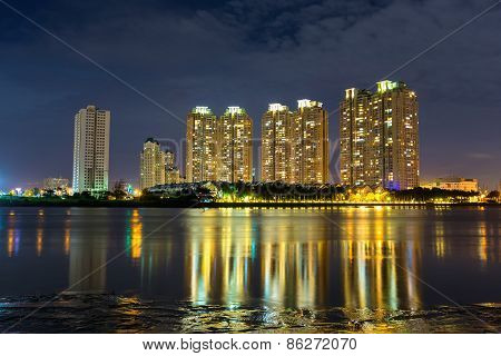 Deluxe Apartment Under Night Viewed From Thu Thiem Peninsula In Ho Chi Minh City, Vietnam, On Sai Go