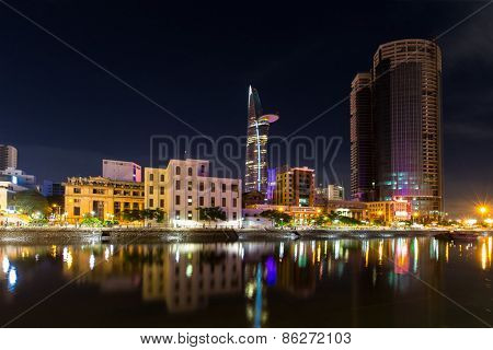 Ho Chi Minh City / Vietnam - September 9 2014 : Night View Of High Building On Tau Hu Canal At Ho Ch