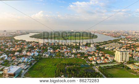 Panoramic View Of Thanh Da Peninsula On Saigon River , Ho Chi Minh City (or Saigon) In Sunset, Vietn