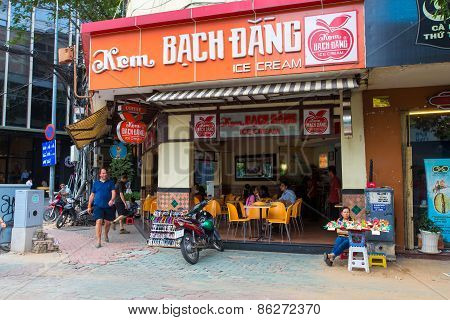 Ho Chi Minh City / Vietnam - Nov 30 2014 : The Very Ancient And Famous Kem Bach Dang Ice Cream Resta