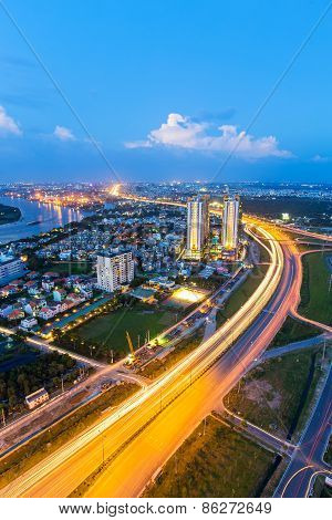 Ho Chi Minh City / Vietnam - November 16 2014 : Beautiful National Route 1A Highway From High View A
