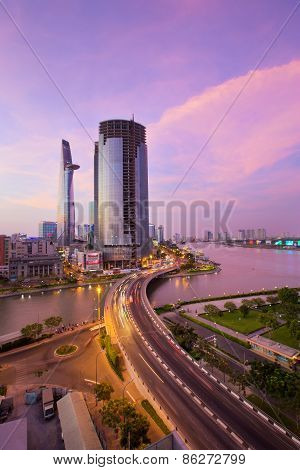 Ho Chi Minh Riverside With Khanh Hoi Bridge At Sunset In