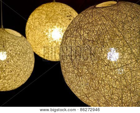 The close view of round lampshade
