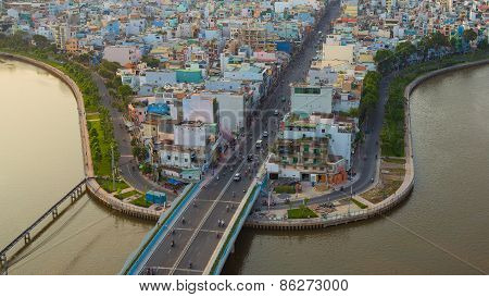 Ho Chi Minh City/vietnam - Circa Feb 2015: Saigon Riverside With The Road Across The Nhieu Loc Canal