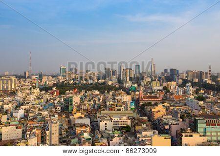 Ho Chi Minh City / Vietnam - Jan 25 2015: Ho Chi Minh Cityscape Sky View Nowadays