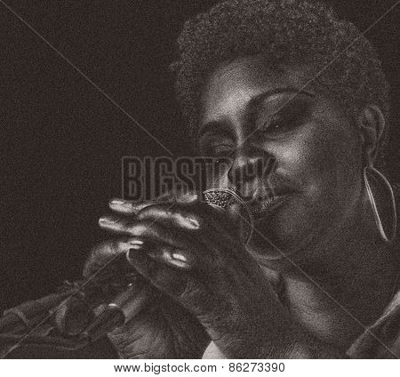 Nice image of a Jazz Singer On Black, Grain added for texture