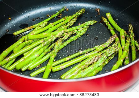 Asparagus Cooking In A Pan