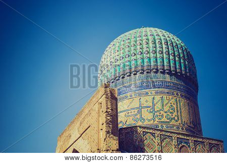 Ancient mosque in Samarkand, Uzbekistan. LOMO effect