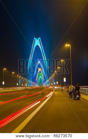 Colorful Nhat Tan Bridge In Hanoi Capital At Night View , Vietnam.