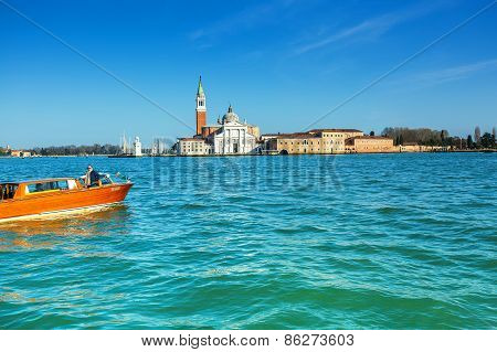 Venice, Italy - Mar 18 - Church Of San Giorgio Maggiore On Mars 18, 2015 In Venice, Italy.