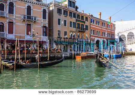 Venice, Italy - Mar 18 - Gondola With Tourists On Canal Grande On Mars 18, 2015 In Venice, Italy.