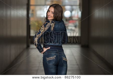 Girl From Behind In Beautiful Blue Jacket