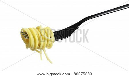 Fork Pasta Spaghetti Isolated On White Background