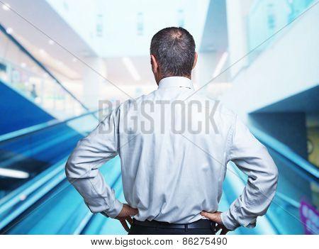 portrait of caucasian senior back view