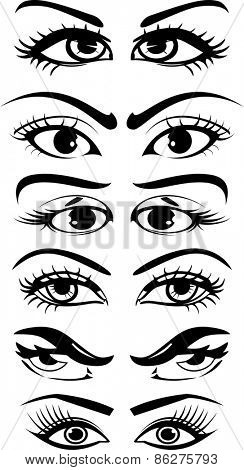 Black and white set of beautiful women eyes