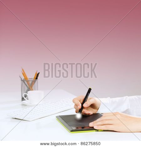 Close up of human hand drawing business strategy plan