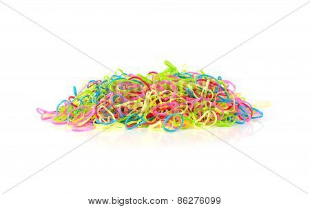 Color Full Of Rubber Band Isolated On White Background